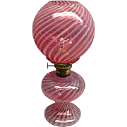 Rare L G Wright Miniature Cranberry Opalescent Optic Swirl Glass Oil Lamp
