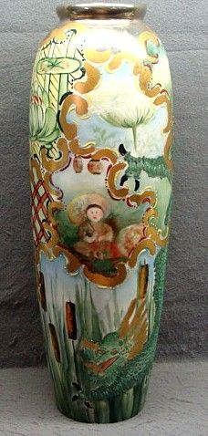 """15"""" Willets Belleek Vase With Dragon Water Lilies Artist Signed Ca 1900"""