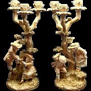 Victorian Royal Worcester James Hadley Figural Candelabrum Ca 1888