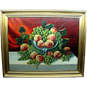 Wonderful Large Antique Still Life Oil Painting Peaches & Grapes Signed Lindskug 1915