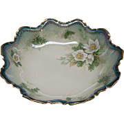 "10"" R S Prussia Bowl With White Christmas Flowers Dogwood And Pine"
