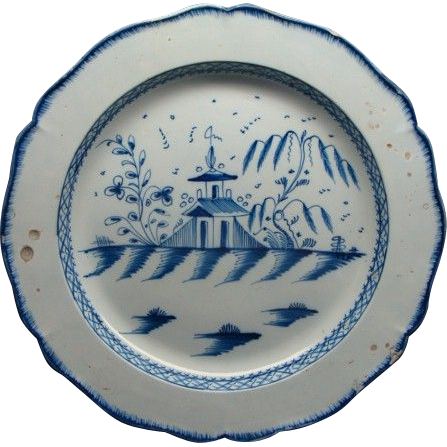 """Rare 16 1/2""""  English Decorated Leeds Pearlware Charger Ca 1810"""