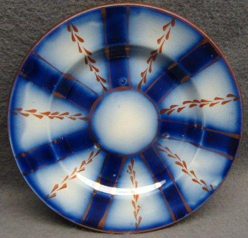 Flow Blue Gaudy Welsh Wagon Wheel Pattern Child's Plate 1