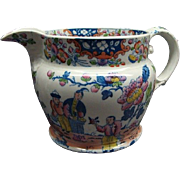 Rare Staffordshire Pearlware Multicolor Pitcher With Oriental Motif Ca 1815