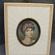 SALE PENDING Antique Miniature Painting In Inlaid Frame Portrait Of Josephine
