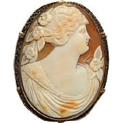 Stunning Victorian 14k Gold Shell Carved Cameo Brooch Pendant