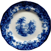 "Staffordshire Flow Blue 7 1/2"" Columbia Pattern Plate Ca 1846 #1"