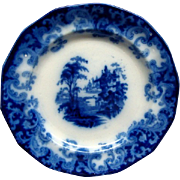 "Staffordshire Flow Blue 7 1/2"" Columbia Pattern Plate Ca 1846 #2"
