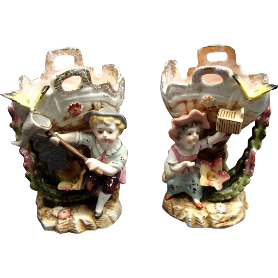 Antique French Camille Naudot Co Figural Sweet Meat Dishes Children & Butterflys Ca 1910