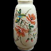 Antique Bohemian Opaline Glass Vase With Enamel Painted Flowers