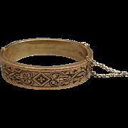 Victorian 14 Karat Gold and Enamel Bangle Bracelet Dated 1880