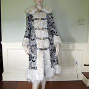 SALE 70s Faux Fur Tapestry Coat Mongolian Lamb Oriental Asian MOD Boho