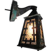 SALE Arts & Crafts Wall Lamp Sconce Asian inspired Indoor Outdoor Bronze Copper Light 19th C