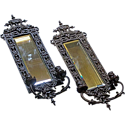 SOLD Pr. Antique V. Blaesius Victorian Bronze Bevel Mirror Dolphin Candle Wall Sconce Eastlake