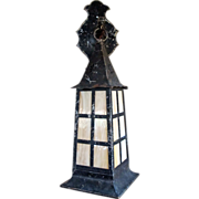 SALE Arts & Crafts Copper Slag Glass Wall Sconce Hanging Lantern Lamp