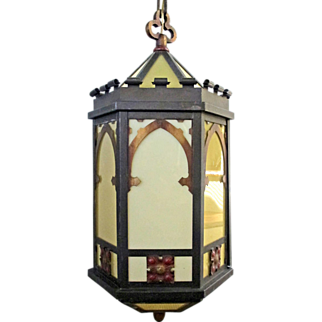 SALE 1920's Arts & Crafts Gothic Church LG Hanging Pendant Ceiling Lamp Fused Glass Polychrome Light