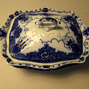 Flow Blue Covered Dish in the Lonsdale Pattern