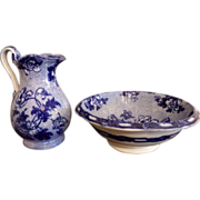 Antique Flow Blue - Water Jug and Basin