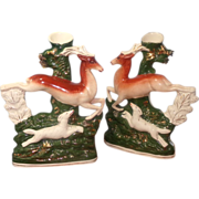 Staffordshire Pair of Leaping Stags/Spill Vase  -  England
