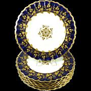 Copeland China Dinner Plates Cobalt Blue & Gilt