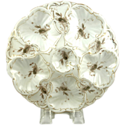 Austrian Oyster Plates Floral Gilt Edging Marx & Gutherz