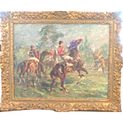 Oil on Canvas Framed Framed Hugo L. Borgune  France  Sporting Life Equestrian