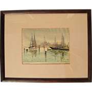 SALE Early Vintage Signed Color Woodcut Print By D.N. Morgan, Circa 1920
