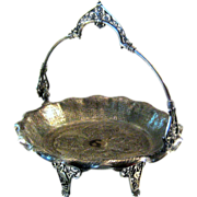 SALE Victorian Silver Plate Footed Basket By James W. Tufts, Circa 1875