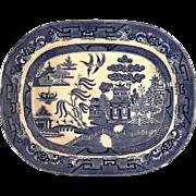 SALE Large Early 20th Century Staffordshire Ridgeway Blue Willow Platter, Circa 1925