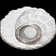 SALE Vintage Etched Crystal Bonbon Dish With Sterling Silver Base