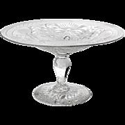 SALE Antique Pairpoint Glass Pedistal Bowl, Circa 1890