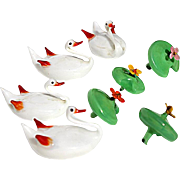 SALE Antique Set Of Four German Art Glass Swans With Blooming Water Lilly, Circa 1900