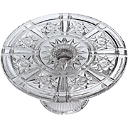 SOLD Early Vintage Pressed Glass Cake Stand, Circa 1930