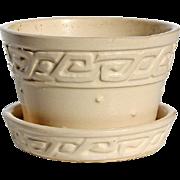 SALE Vintage Signed McCoy White Greek Key Design Flower Pot, Circa 1950