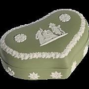 SALE Vintage Wedgwood Green Jasperware Heart Shaped Box