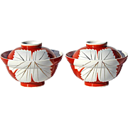 SALE Vintage Pair Of Japanese Porcelain Covered Soup Bowls