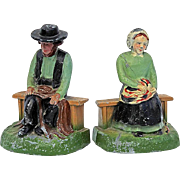 SALE Vintage Pair Of Painted Metal Amish Figure Bookends, Circa 1940