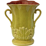 SALE Vintage Signed Redwing Pottery Acanthus Vase, Circa 1950