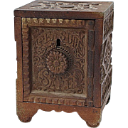 SALE J.E. STEVENS CO. TREASURE-SAFE Key-Combination Cast Iron Still Bank, Circa 1897