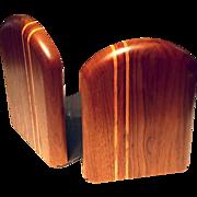 SALE Vintage Pair Of Inlaid Wood Bookends