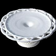 SALE Vintage White Milk Glass Pedistal Cake Stand