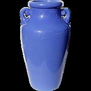 SALE Large Vintage Blue Handled Pottery Floor Vase, Circa 1950
