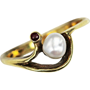 SALE Art Nouveau Natural Pearl and Garnet 14kt Gold Ring
