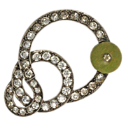 Art Deco Green Bead Paste Brooch