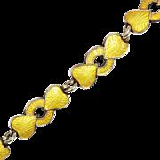 SALE Yellow Enamel Sterling Silver Bracelet Denmark Meka