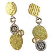 Modernist De Novo 18kt Gold and Silver Dangle Earrings