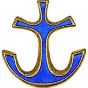 David Andersen Blue Enamel Anchor Sterling Silver Brooch