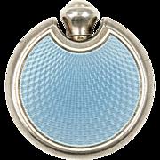 Art Deco Blue Guilloche Enamel Perfume Flask or Flacon