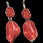Coral Dangle Earrings 14kt Gold
