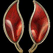David Andersen Red Enamel Leaf Sterling Silver Earrings